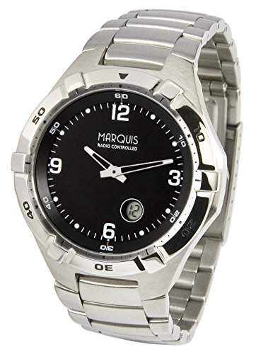 Sportliche MARQUIS Herren Funkuhr Junghans-Uhrwerk aus Edelstahl, Drehbare Luenette Armbanduhr 9644701