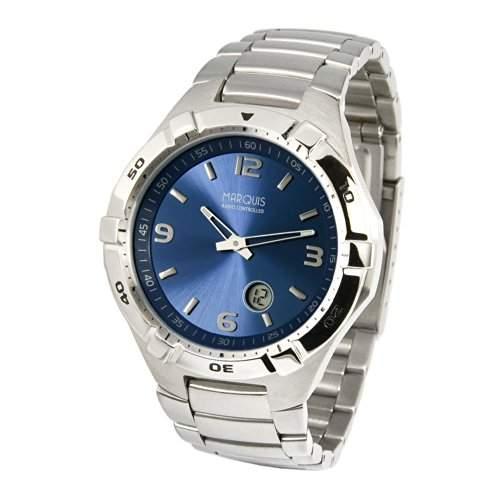 Sportliche MARQUIS Herren Funkuhr Junghans-Uhrwerk aus Edelstahl, Drehbare Luenette Armbanduhr 9644711