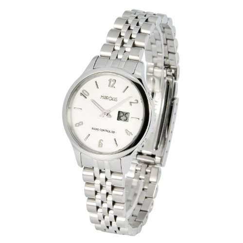 Elegante MARQUIS Damen Funkuhr Junghans-Uhrwerk Gehaeuse und Armband aus Edelstahl 9644713