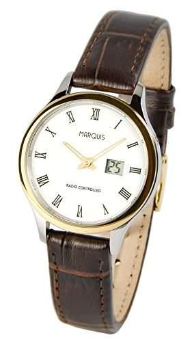 Elegante MARQUIS Damen Funkuhr Junghans-Uhrwerk Braunes Lederarmband, Edelstahl-Bicolor Gehaeuse 9644725