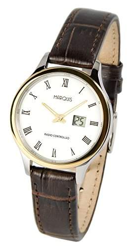 Elegante MARQUIS Damen Funkuhr Junghans-Uhrwerk Braunes Lederarmband, Edelstahl-Bicolor Gehaeuse 9644735