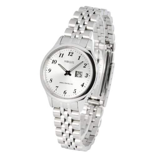 Elegante MARQUIS Damen Funkuhr Junghans-Uhrwerk Gehaeuse und Armband aus Edelstahl 9644780