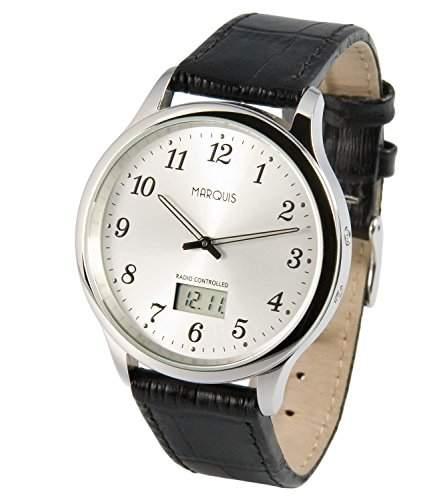 Elegante MARQUIS Herren Funkuhr Junghans-Uhrwerk Schwarzes Lederarmband, Edelstahlgehaeuse 9644802