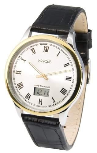 Elegante Bicolor MARQUIS Herren Funkuhr Junghans-Uhrwerk Edelstahlgehaeuse, Armband aus echtem Leder 9644810
