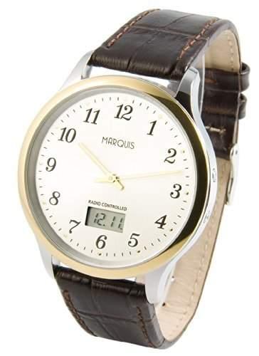 Bicolor MARQUIS Herren Funkuhr Junghans-Uhrwerk Edelstahlgehaeuse, Braunes Lederarmband 9644811