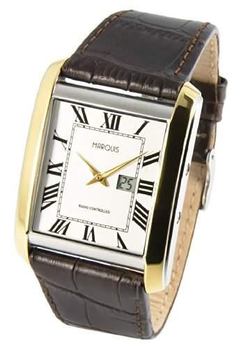 Bicolor MARQUIS Herren Funkuhr Junghans-Uhrwerk Braunes Lederarmband m Edelstahlverschluss, Gehaeuse aus Edelstahl 9644813