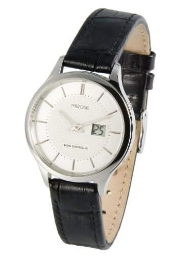 Elegante MARQUIS Damen Funkuhr Junghans-Uhrwerk Edelstahlgehaeuse, Schwarzes Lederarmband mit Edelstahlverschluss 9644815