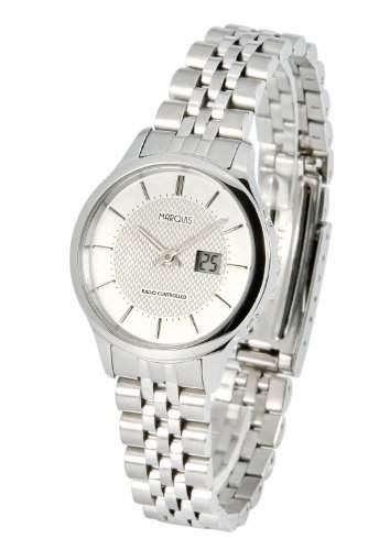 Elegante MARQUIS Damen Funkuhr Junghans-Uhrwerk Gehaeuse und Armband aus Edelstahl 9644825
