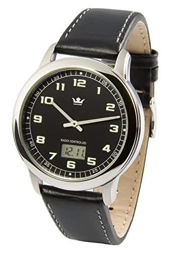 Elegante MARQUIS Herren Funkuhr Junghans-Uhrwerk Edelstahlgehaeuse, Armband aus echtem Leder 9644903