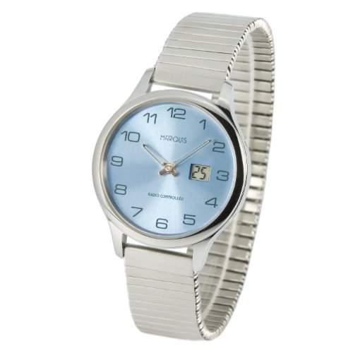 Elegante MARQUIS Damen Funkuhr Junghans-Uhrwerk Gehaeuse und Armband aus Edelstahl 9644905