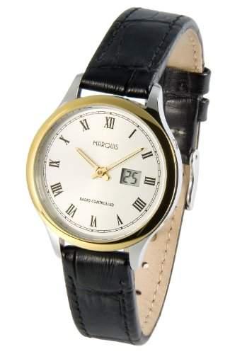 Elegante MARQUIS Damen Bicolor Funkuhr Junghans-Uhrwerk Edelstahlgehaeuse, Lederarmband mit Edelstahlverschluss 9644914