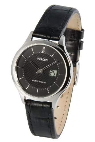 Elegante MARQUIS Damen Funkuhr Junghans-Uhrwerk Edelstahlgehaeuse, Schwarzes Lederarmband mit Edelstahlverschluss 9644915