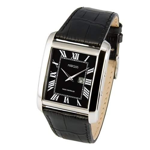 Elegante MARQUIS Herren Funkuhr Junghans-Uhrwerk Schwarzes Lederarmband, Gehaeuse aus Edelstahl 9644917