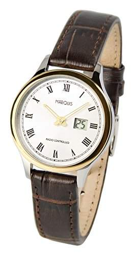 Elegante MARQUIS Damen Funkuhr Junghans-Uhrwerk Braunes Lederarmband , Edelstahl-Bicolor Gehaeuse 9644924