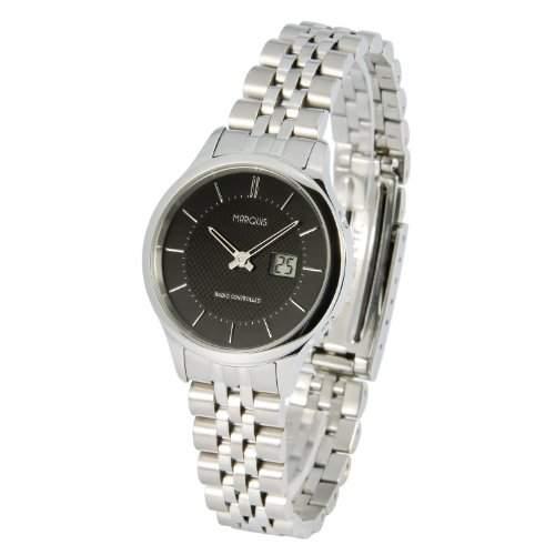 Elegante MARQUIS Damen Funkuhr Junghans-Uhrwerk Gehaeuse und Armband aus Edelstahl 9644925
