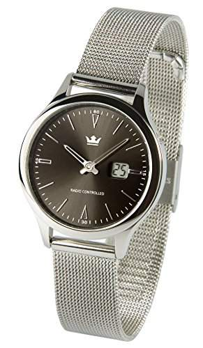Elegante Damen Funkuhr Junghans-Uhrwerk Milanaise Armband , Edelstahlgehaeuse 9645101