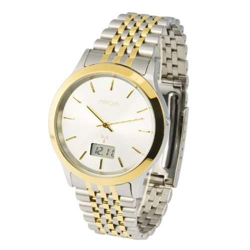 Elegante MARQUIS Bicolor Herren Funkuhr Junghans-Uhrwerk Gehaeuse & Armband aus Edelstahl 9646004