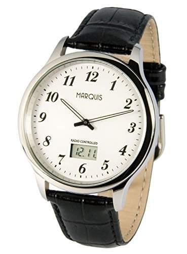 Elegante MARQUIS Herren Funkuhr Junghans-Uhrwerk Schwarzes Lederarmband, Edelstahlgehaeuse 9646016