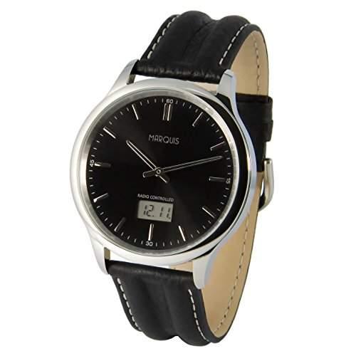 Elegante MARQUIS Herren Funkuhr Junghans-Uhrwerk Schwarzes Lederarmband, Edelstahlgehaeuse 9646018