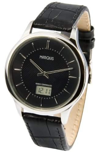 Elegante MARQUIS Herren Funkuhr Junghans-Uhrwerk Edelstahlgehaeuse, Schwarzes Lederarmband 9646019