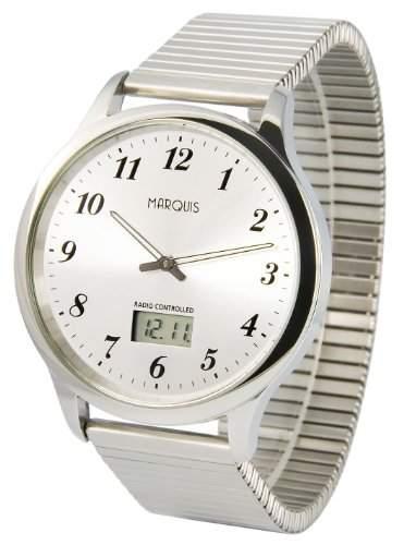 Elegante MARQUIS Herren Funkuhr Junghans-Uhrwerk Gehaeuse und Armband aus Edelstahl 9646020