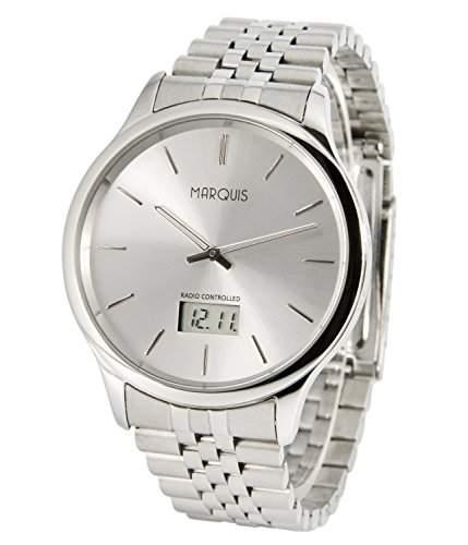 Elegante MARQUIS Herren Funkuhr Junghans-Uhrwerk Gehaeuse und Armband aus Edelstahl 9646022