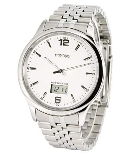Elegante MARQUIS Herren Funkuhr Junghans-Uhrwerk Gehaeuse und Armband aus Edelstahl 9646023