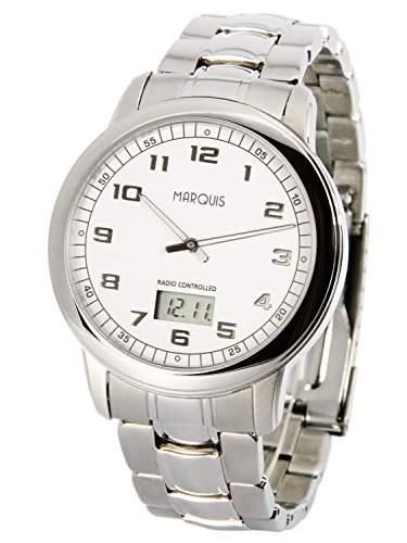 Elegante MARQUIS Herren Funkuhr Junghans-Uhrwerk Gehaeuse und Armband aus Edelstahl 9646045