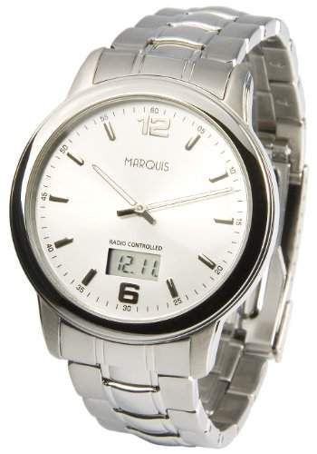 Elegante MARQUIS Herren Funkuhr Junghans-Uhrwerk Gehaeuse und Armband aus Edelstahl 9646075