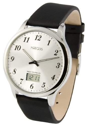 Elegante MARQUIS Herren Funkuhr Junghans-Uhrwerk Edelstahlgehaeuse, Armband aus echtem Leder 9646079