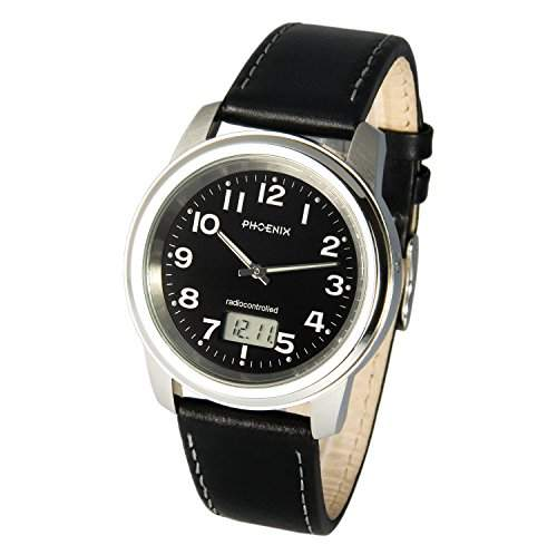 Elegante PHOENIX Herren Funkuhr Junghans-Uhrwerk Lederarmband mit Edelstahlverschluss, Gehaeuse aus Edelstahl 9646081