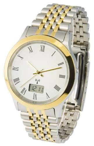 Elegante MARQUIS Bicolor Herren Funkuhr Junghans-Uhrwerk Gehaeuse & Armband aus Edelstahl 9646904