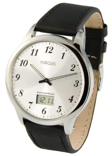 Elegante MARQUIS Herren Funkuhr Junghans-Uhrwerk Edelstahlgehaeuse, Armband aus echtem Leder 9646118