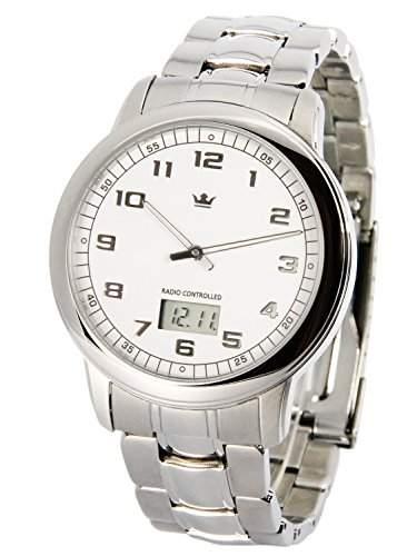 Elegante MARQUIS Herren Funkuhr Junghans-Uhrwerk Gehaeuse und Armband aus Edelstahl 9646145