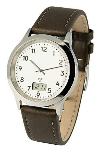 Elegante Herren Funkuhr Junghans-Uhrwerk Braunes Lederarmband, Edelstahlgehaeuse 9646213