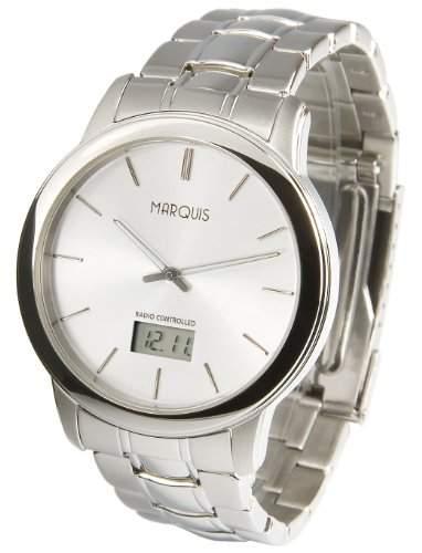 Elegante MARQUIS Herren Funkuhr Junghans-Uhrwerk Gehaeuse und Armband aus Edelstahl 9646247