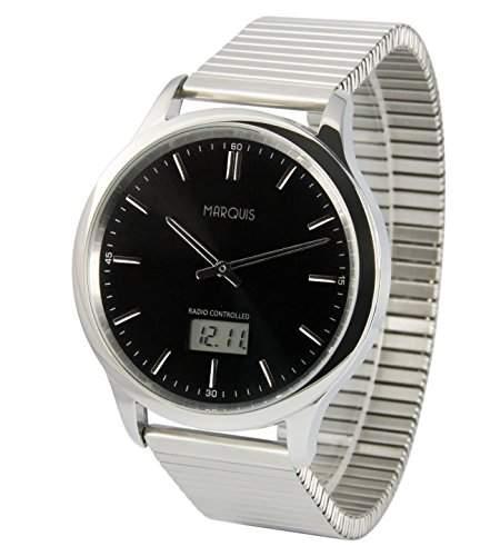 Elegante MARQUIS Herren Funkuhr Junghans-Uhrwerk Gehaeuse und Armband aus Edelstahl 9646321