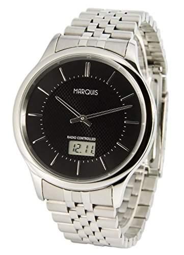 Elegante MARQUIS Herren Funkuhr Junghans-Uhrwerk Gehaeuse und Armband aus Edelstahl 9646322