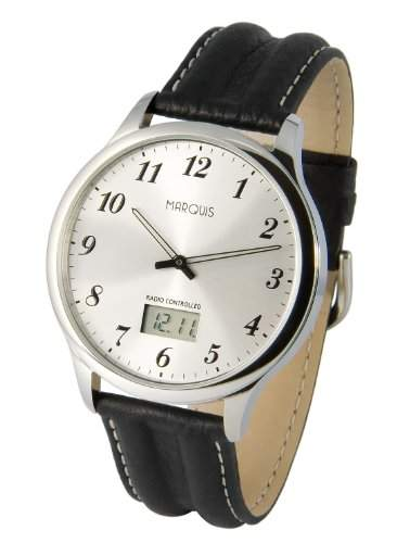 Elegante MARQUIS Herren Funkuhr Junghans-Uhrwerk Schwarzes Lederarmband, Edelstahlgehaeuse 9646478