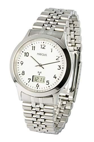 Elegante MARQUIS Herren Funkuhr Junghans-Uhrwerk Gehaeuse und Armband aus Edelstahl 9646503