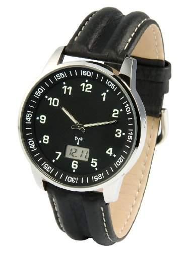 Elegante MARQUIS Herren Funkuhr Junghans-Uhrwerk Schwarzes Lederarmband, Edelstahlgehaeuse 9646907