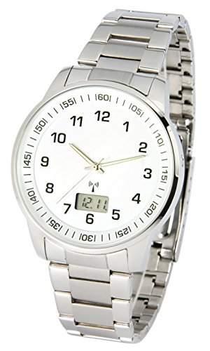 Elegante MARQUIS Herren Funkuhr Junghans-Uhrwerk Gehaeuse und Armband aus Edelstahl 9646908