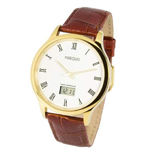 Elegante MARQUIS Herren Funkuhr Junghans-Uhrwerk Braunes Lederarmband , Gehaeuse aus Edelstahl Farbe Gold 9834702
