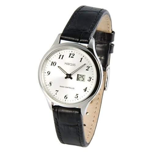 Elegante MARQUIS Damen Funkuhr Junghans-Uhrwerk Schwarzes Lederarmband, Gehaeuse aus Edelstahl 9834707