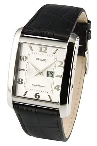 Elegante MARQUIS Herren Funkuhr Junghans-Uhrwerk Schwarzes Lederarmband, Gehaeuse aus Edelstahl 9834714