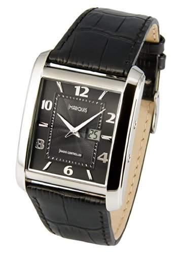 Elegante MARQUIS Herren Funkuhr Junghans-Uhrwerk Schwarzes Lederarmband, Gehaeuse aus Edelstahl 9834715