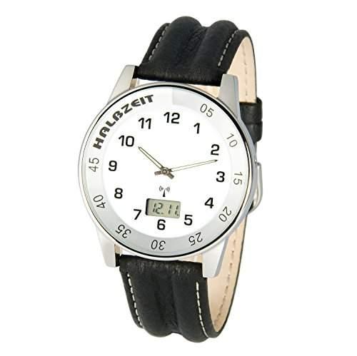 Sportliche MARQUIS Herren Funkuhr Junghans-Uhrwerk Lederarmband m Edelstahlverschluss, Gehaeuse aus Edelstahl 9836029
