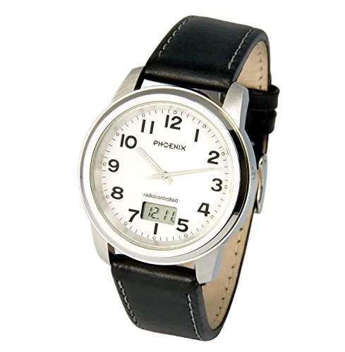 Elegante PHOENIX Herren Funkuhr Junghans-Uhrwerk Lederarmband mit Edelstahlverschluss, Gehaeuse aus Edelstahl 9836082