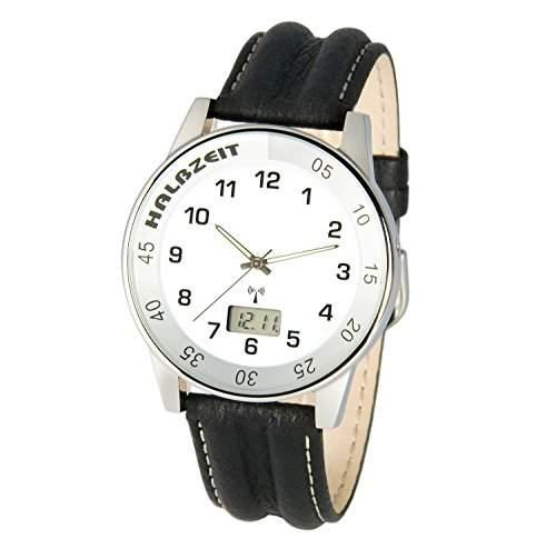 Sportliche MARQUIS Herren Funkuhr Junghans-Uhrwerk Lederarmband mit Edelstahlverschluss, Gehaeuse aus Edelstahl 9836929