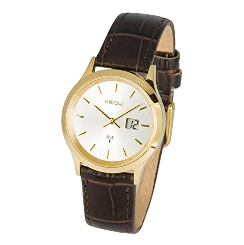 Elegante MARQUIS Damen Funkarmbanduhr Junghans Uhrwerk Edelstahlgehaeuse Braunes Lederarmband 964 2045
